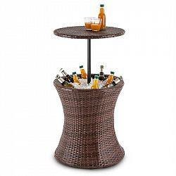 Blumfeldt Beerboy, zahradní stůl, chladič nápojů, Ø 50 cm, polyratan, dvoubarevný hnědý