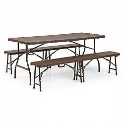 Blumfeldt Burgos, sestava zahradního nábytku, třídílná, stůl + dvě lavice, ocel, HDPE, skládací, hnědá