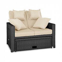 Blumfeldt Komfortzone, ratanová zahradní sedačka, dvojsedačka, polyratan, sklopná, šedá