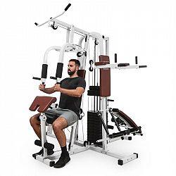KLARFIT Ultimate Gym 9000, fitness stanice, 7 stanic, do 150 kg, QR ocel, bílá