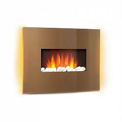 Klarstein Curved Copper L&F, elektrický krb, 1000/2000 W, zaoblený skleněný panel, dálkové ovládání, měď