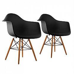 OneConcept Bellagio, černá, skořepinová židle, sada 2 kusů, retro, PP sedadlo, březové dřevo