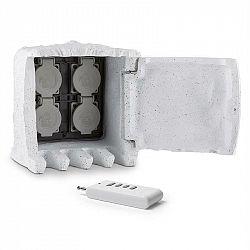 Waldbeck Power Rock Remote, zahradní zásuvka, 4-itý rozdělovač, 3 m, dálkové ovládání, skála, světle šedá